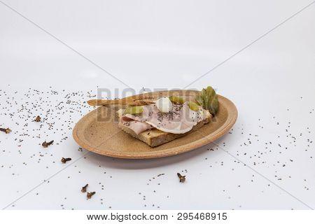 Ham Ham Sandwich With Gherkin Served In A Vallauris Ceramic Plate