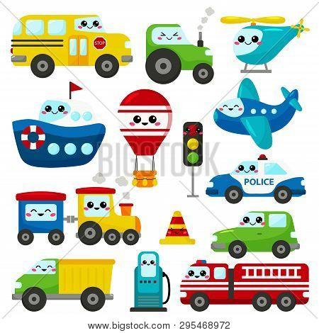 Vector Set Of Kawaii Transportation. Cute Cartoon Cars, Plane, Helicopter, Ship, Train And Hot Air B