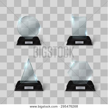 Blank Glass Trophy Award On A Transparent Background. Glossy Trophy For Illustration Award.realistic