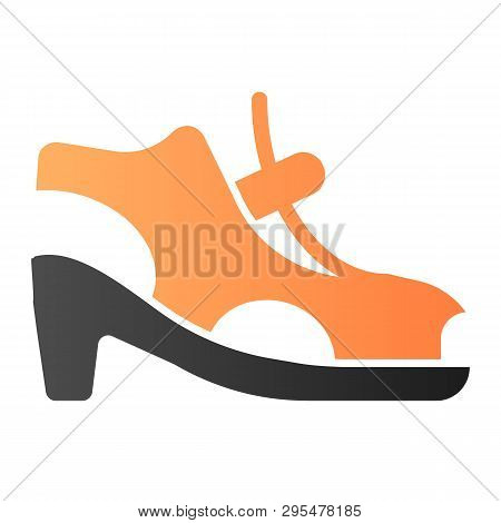 Woman Shoes With Clasp Flat Icon. High-heeled Sandals Color Icons In Trendy Flat Style. Footwear Gra