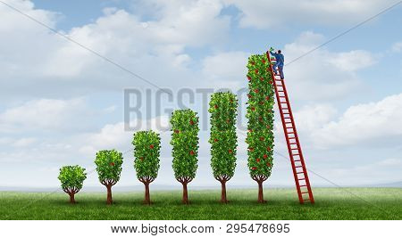 Business Success Growth And Growing Income Concept As A Financial Metaphor For Succeeding In Economi