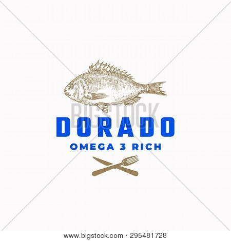 Omega 3 Rich Dorado Fish Abstract Vector Sign, Symbol Or Logo Template. Hand Drawn Sketch Dorada Wit