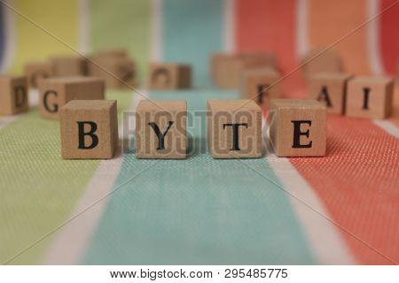 Byte Word In Wooden Blocks On Studio Background