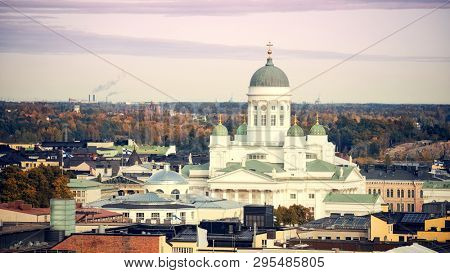 Aerial view on Cathedral in the Old Town of Helsinki, Finland