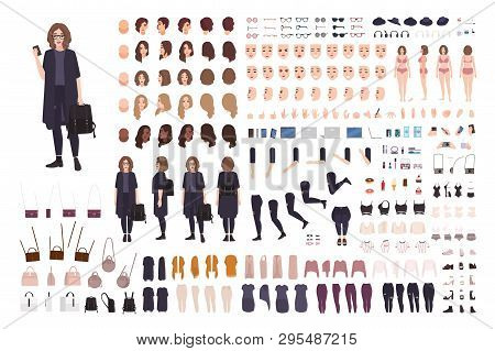 Fashionable Teenage Girl Avatar Constructor Kit. Set Of Body Parts, Clothes And Accessories. Trendy