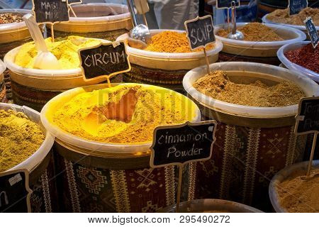 Indian spices at the market in Dubai.