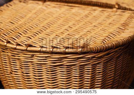 Basket Wickerwork Detail. Old Wickerwork Pattern Used For Picnic Basket. Close Up