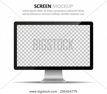 Screen Mockup. Computer Monitor With Blank Screen For Design