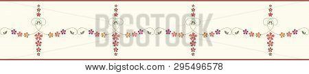 Decorative Hand Drawn Floral Border With Striped Edging. Orange, Red, Burgundy, Purple Flowers. Seam