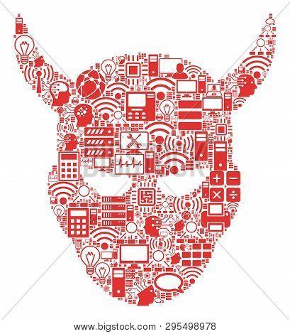 Daemon Head Collage Icon Organized For Bigdata And Computing Purposes. Vector Daemon Head Mosaics Ar