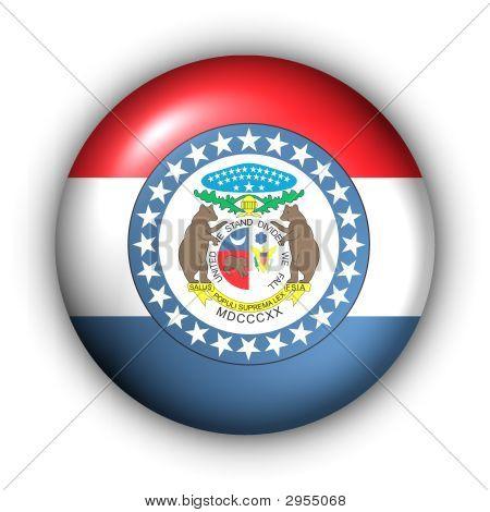 Round Button Usa State Flag Of Missouri