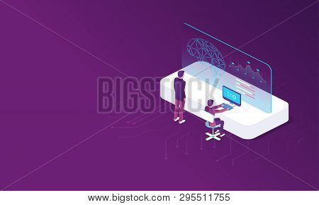 Digital Technology Banner. Modern Template With Artificial Intelligence. Data Analysis. Artificial I