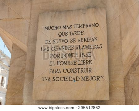 Santiago De Chile, Chile - January 26, 2018: : Stone Engraved With The Last Words Of Allende. Monume