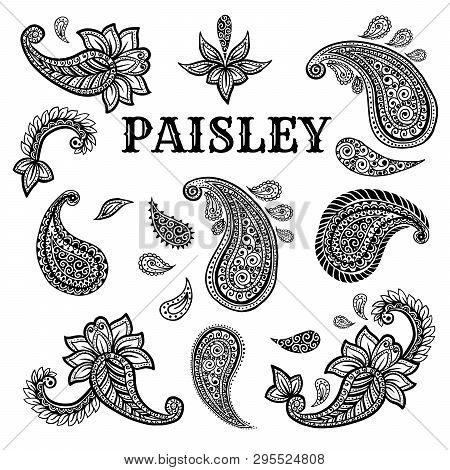 Paisley Motifs Hand Drawn Illustrations Set. Buta Ink Pen Isolated Cliparts. Persian Ornate Sketch D