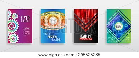 Hi-tech Science Background With Gear, Radial, Technology Line Elements. Business Brochure Vector Tem