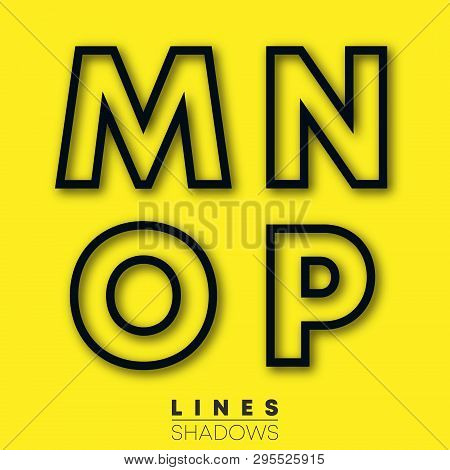 Letters Linear Design. Set Of Letter M, N, O, P Template For Logo Or Icon