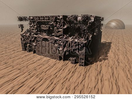 Surreal View Of The Red Planet Mars. Destruction. 3d Illustration On The Theme Of Space, Planets, Un
