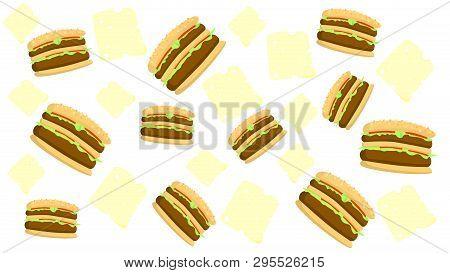 Hamburger Texture Pattern Fast Food Hamburger Fast Food Icon Flat Burger Flat Vector Illustration Fo