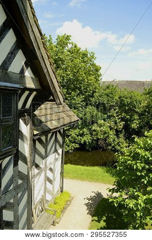 Congleton; Cheshire; England, United Kingdom - June 17 2017 : Detail Of Little Moreton Hall Half Tim