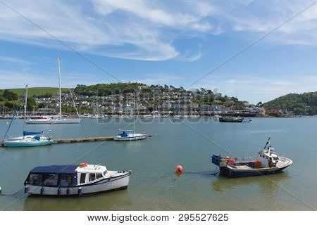 Boats River Dart Dartmouth Devon With Houses On The Hillside In Historic English Town