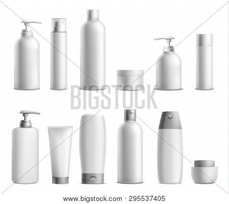 Cosmetic Package Mockup Set. Collection Of Beauty Product Bottles And Containers For Cosmetics With