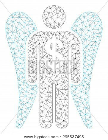 Mesh Angel Investor Polygonal 2d Illustration. Abstract Mesh Lines And Dots Form Triangular Angel In