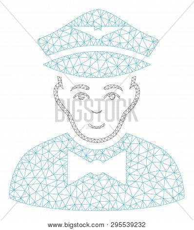 Mesh Airline Steward Polygonal 2d Illustration. Abstract Mesh Lines And Dots Form Triangular Airline