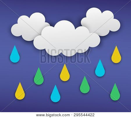 Vector Illustration Of Gray Clouds With Rain On The Dark Blue Background. Modern 3d Origami Paper Ar