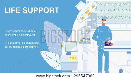Life Support Vector Web Banner With Text Space. Surgeon In Operating Room Illustration. Unconscious