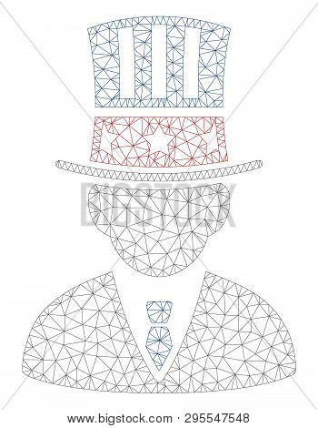 Mesh American Capitalist Polygonal Icon Illustration. Abstract Mesh Lines And Dots Form Triangular A