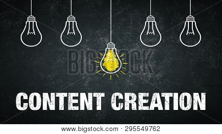 Content Creation - Light Bulbs And Text On A Chalkboard
