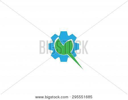 Leaf With Pinion Gear For Logo Design Illustration