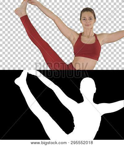 Young Woman Doing Yoga Exercise Utthita Hasta Padangustasana, Alpha Channel