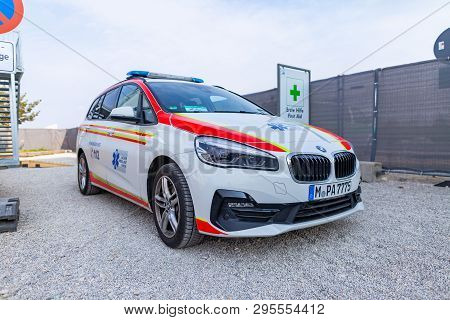 Munich / Germany - April 14, 2019: A German Ambulance Car From Aicher Ambulance Union Stands Near A