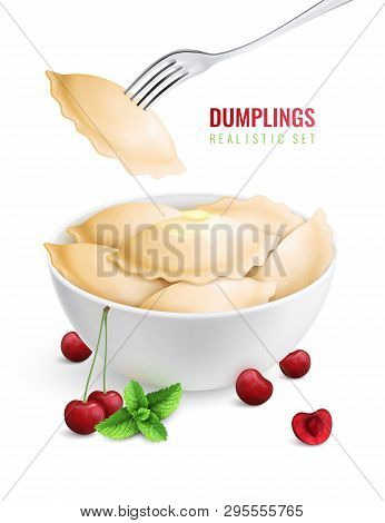 Dumplings Ravioli Manti Colored Realistic Composition Vareniki With Cherry Filling In A Plate Vector