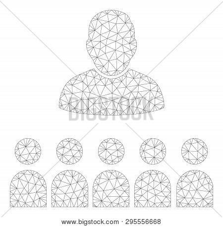 Mesh Auditory Students Polygonal 2d Illustration. Abstract Mesh Lines And Dots Form Triangular Audit