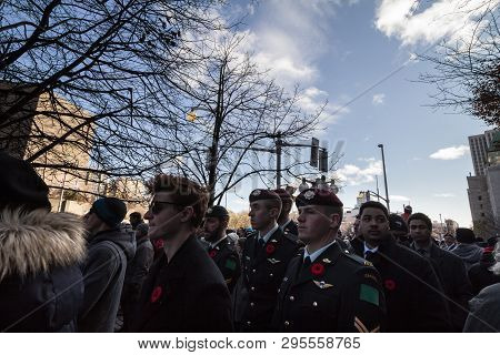 Ottawa, Canada - November 11, 2018: Soldiers From Parachute Airbore Battalions Standing And Wearing