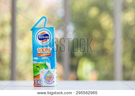 Bangkok, Thailand - April 01, 2019 : Foremost U.h.t. Milk Ready To Drink On Table Office With Nature