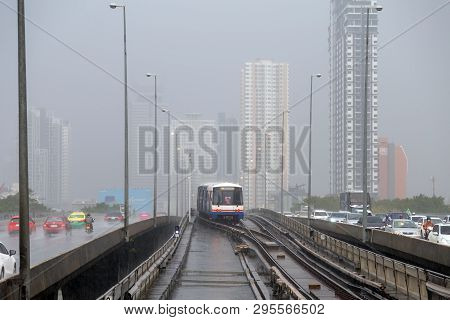 Bangkok, Thailand - January 15, 2019 : Bts Sky Trains Stop For  Waiting For Another Train To Pass On