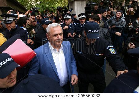 Bucharest, Romania - April 14, 2019: Liviu Dragnea, The Chairman Of Psd, Leaves The High Court Of Ca