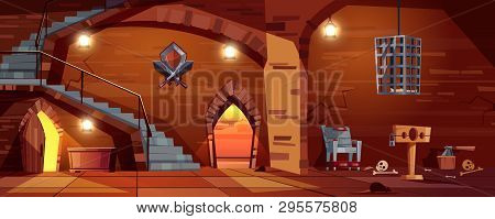 cartoon background with medieval torture hall, Romanesque room of executioner. Prison in cellar with stairs, bones on the floor. Scaffold, torment chair and metal hanging cage for punishment. poster
