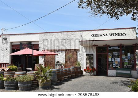 SANTA BARBARA, CALIFORNIA - APRIL 11, 2019: The Oreana Winery in an old tire shop is now an eclectic winery and tasting room focused on Pinot Noir and Syrah,