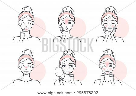 Woman With Oily Skin Problem On The White Background