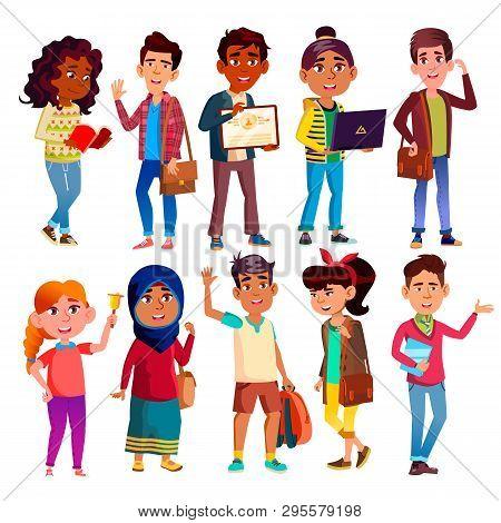 Highschool Pupils, Teenagers Vector Cartoon Characters Set. Highschool Lifestyle, International Educ
