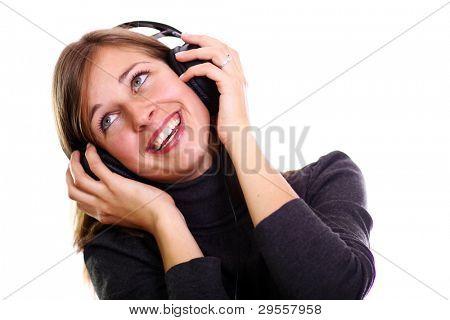 isoliert lächelnd mädchen Musik hören