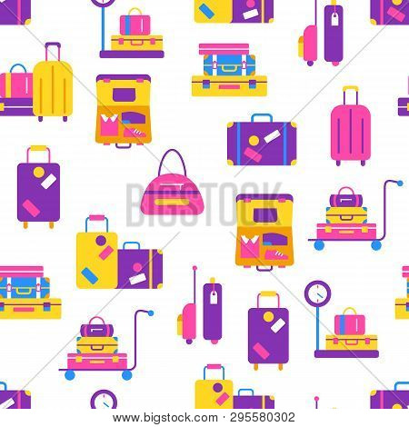Travel Bags Seamless Pattern In Flat Style. Worldwide Traveling And Vacation Concept. Suitcases And