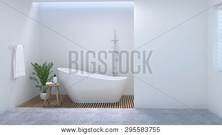 Clean Bathroom Interior,toilet,shower,modern Home Design 3d Rendering For Copy Space Background Whit