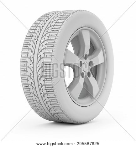 Clay Render Of Car Wheel On White Background - 3d Illustration