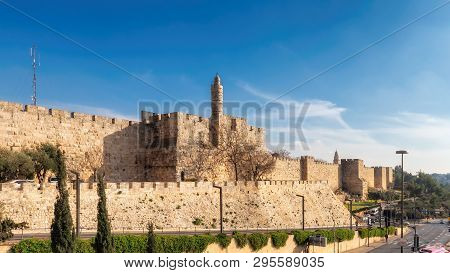 View Of Fortress Wall In Jerusalem Old Town, Israel.