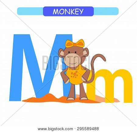 Letter M And Funny Cartoon Monkey. Animals Alphabet A-z. Cute Zoo Alphabet In Vector For Kids Learni